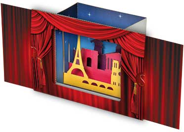carte pop-up théâtre
